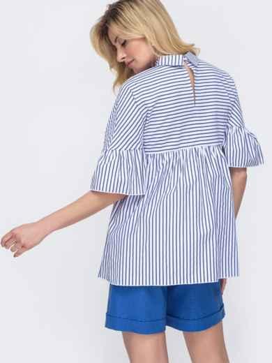 Белая блузка свободного кроя в узкую полосу 48423, фото 3