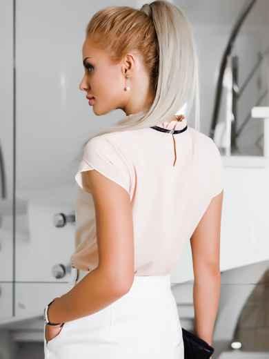 Бежевая легкая блузка с гипюровой тесьмой на полочке - 10041, фото 3 – интернет-магазин Dressa