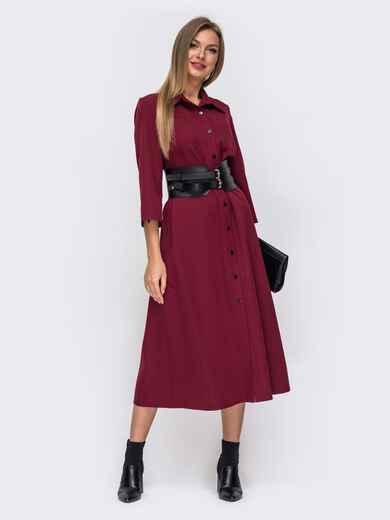 Бордовое платье-рубашка с накладными карманами 51042, фото 1