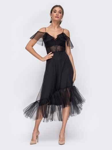 Чёрное платье с открытыми плечами и асимметричным низом 43091, фото 1