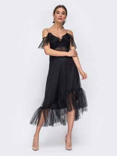 Чёрное платье с открытыми плечами и асимметричным низом - 43091, фото 2 – интернет-магазин Dressa