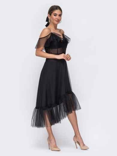 Чёрное платье с открытыми плечами и асимметричным низом - 43091, фото 3 – интернет-магазин Dressa