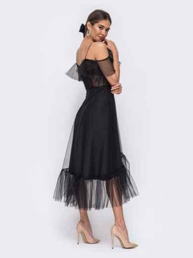 Чёрное платье с открытыми плечами и асимметричным низом - 43091, фото 4 – интернет-магазин Dressa