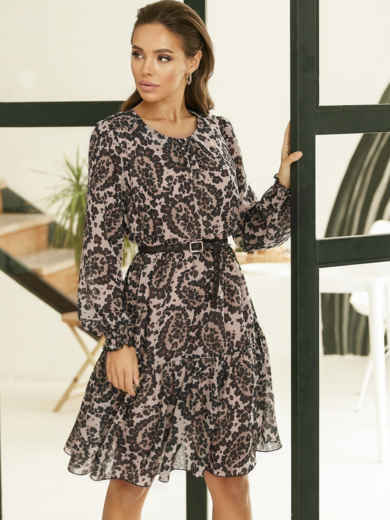 Бежевое платье-трапеция из шифона с принтом 53105, фото 1