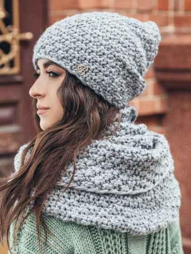 Комплект из шапки-колпак и хомута крупной вязки серый - 15549, фото 3 – интернет-магазин Dressa