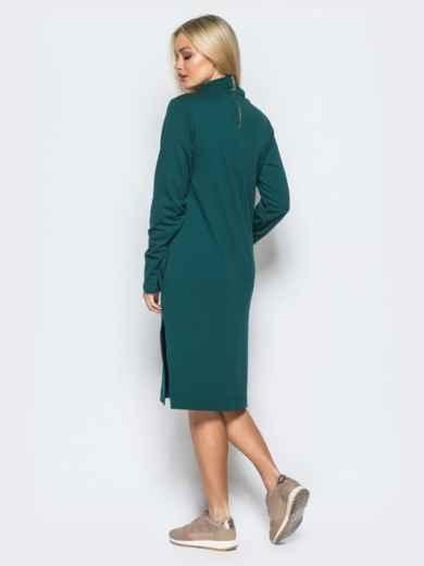 Платье из двунитки со змейкой на спинке зелёное - 17420, фото 2 – интернет-магазин Dressa