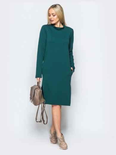 Платье из двунитки со змейкой на спинке зелёное - 17420, фото 3 – интернет-магазин Dressa
