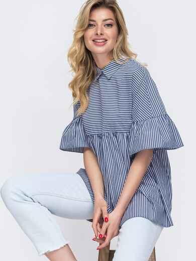 Синяя блузка свободного кроя в узкую полосу 48422, фото 1