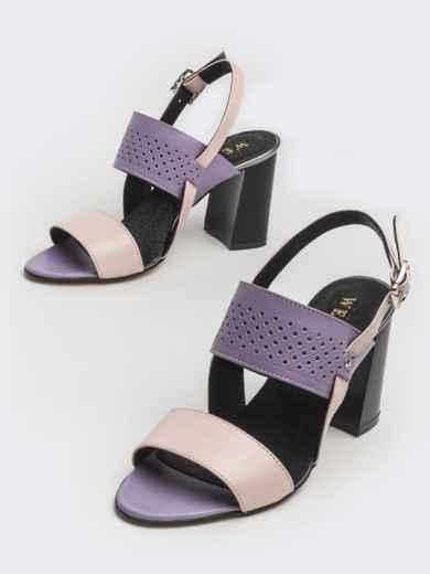 Сиреневые босоножки из кожи на устойчивом каблуке - 39623, фото 1 – интернет-магазин Dressa