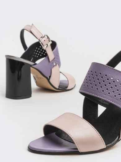 Сиреневые босоножки из кожи на устойчивом каблуке - 39623, фото 2 – интернет-магазин Dressa