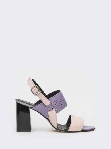 Сиреневые босоножки из кожи на устойчивом каблуке - 39623, фото 3 – интернет-магазин Dressa