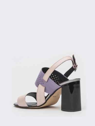 Сиреневые босоножки из кожи на устойчивом каблуке - 39623, фото 4 – интернет-магазин Dressa
