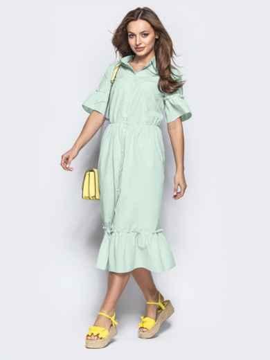 Зеленое платье-рубашка из хлопка в полоску с оборкой по низу 54678, фото 1