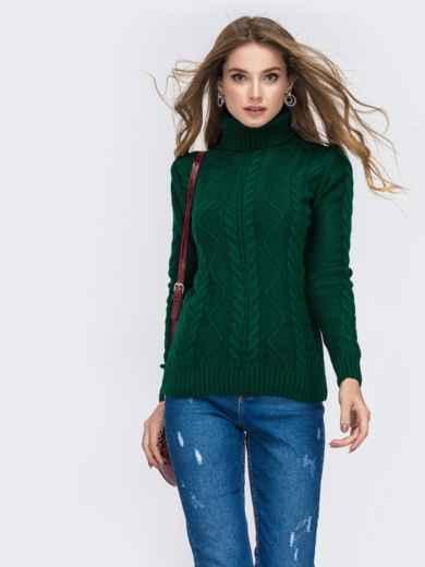 Зелёный свитер с ажурной вязкой и высоким воротником 42148, фото 2