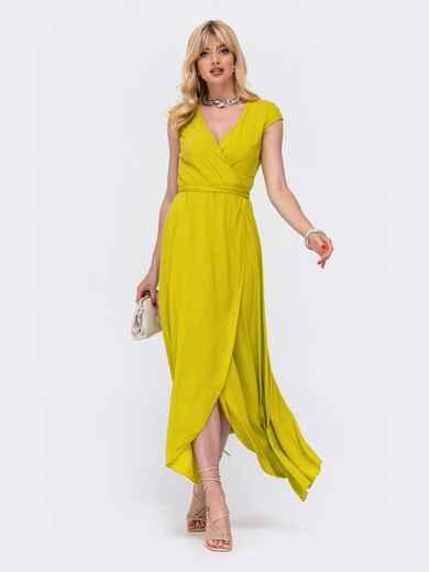 "Желтое платье-макси на запах с рукавом ""крылышко"". 48501, фото 1"