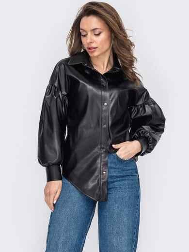 Черная рубашка из экокожи с объёмными рукавами 53136, фото 1