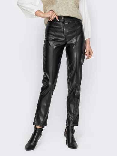 Черные брюки из экокожи с завышенной талией 53131, фото 1