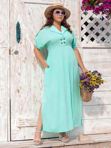 Длинное платье батал с разрезами по бокам бирюзовое 47677, фото 1
