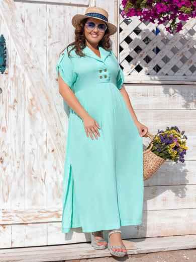 Длинное платье батал с разрезами по бокам бирюзовое 47677, фото 2