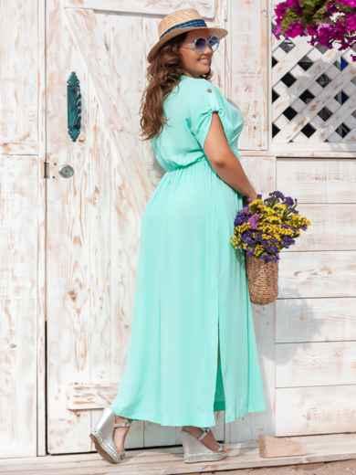 Длинное платье батал с разрезами по бокам бирюзовое 47677, фото 3
