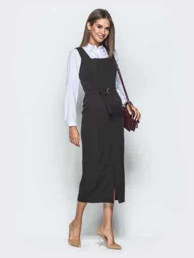 Платье-футляр с квадратным вырезом горловины и разрезом чёрное 39917, фото 2