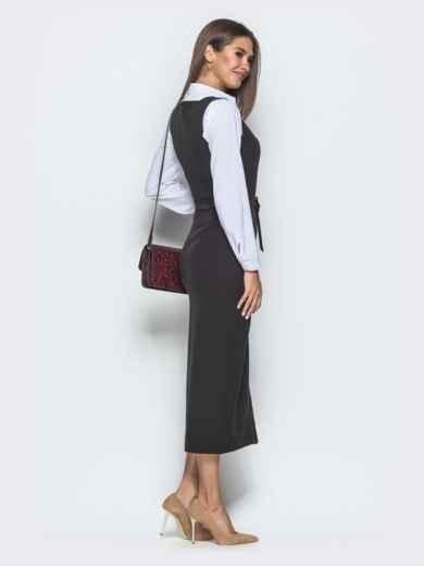 Платье-футляр с квадратным вырезом горловины и разрезом чёрное 39917, фото 3