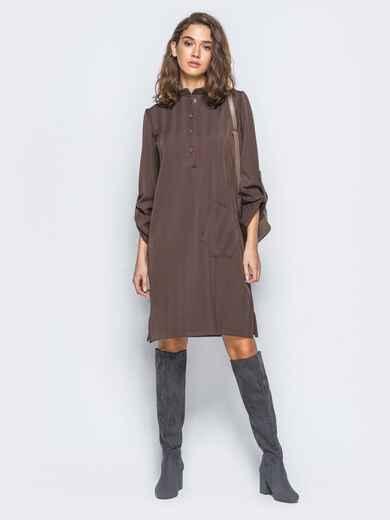 Платье-рубашка коричневого цвета из костюмной ткани с карманом на полочке - 17465, фото 1 – интернет-магазин Dressa