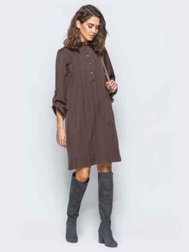 Платье-рубашка коричневого цвета из костюмной ткани с карманом на полочке - 17465, фото 2 – интернет-магазин Dressa