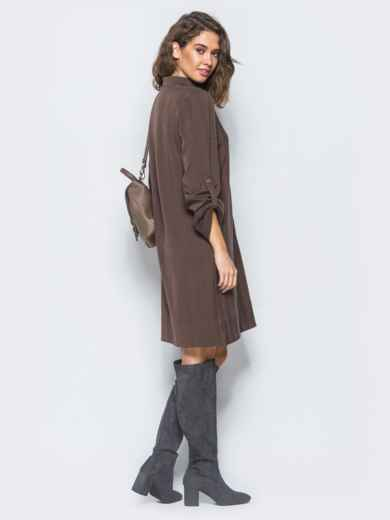 Платье-рубашка коричневого цвета из костюмной ткани с карманом на полочке - 17465, фото 3 – интернет-магазин Dressa