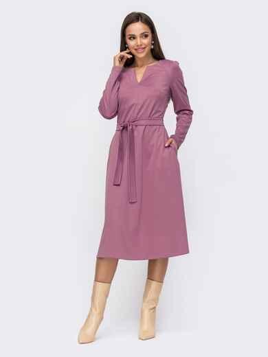 Платье с фигурным вырезом и юбкой-трапеция фиолетовое 51187, фото 1