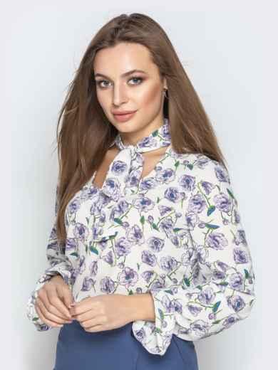 Принтованная блузка из софта с фигурным вырезом серая - 20973, фото 2 – интернет-магазин Dressa