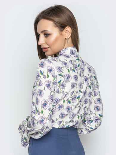 Принтованная блузка из софта с фигурным вырезом серая - 20973, фото 3 – интернет-магазин Dressa