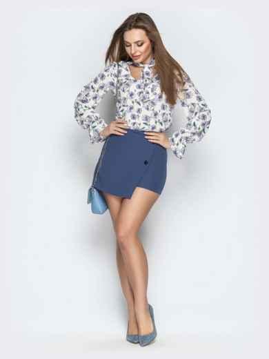 Принтованная блузка из софта с фигурным вырезом серая - 20973, фото 4 – интернет-магазин Dressa