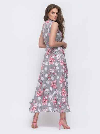 Серое платье на запах в цветочный принт 47074, фото 3