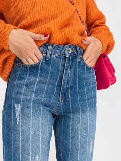 Укороченные джинсы в полоску с завышенной талией голубые - 41904, фото 3 – интернет-магазин Dressa