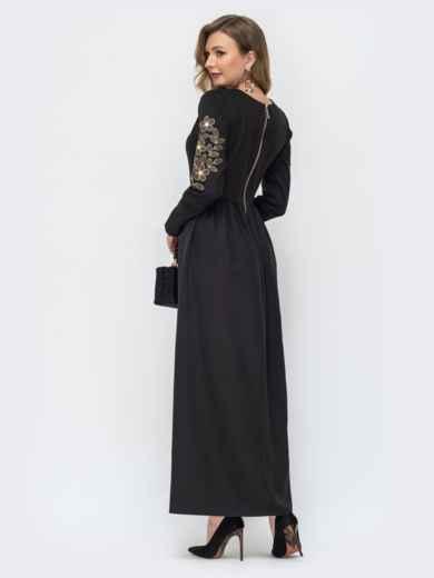 Чёрное платье-макси с вышивкой по рукаву 44872, фото 2