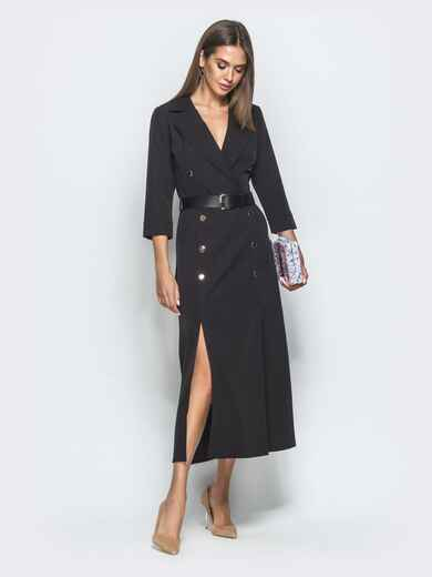 Длинное платье-пиджак с разрезами по бокам чёрное 40035, фото 1