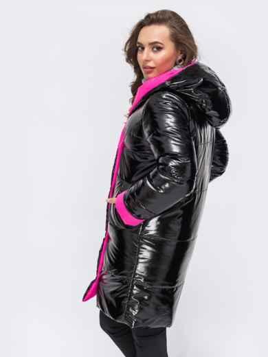 Двухсторонняя куртка из лакированной плащевски чёрная - 43181, фото 2 – интернет-магазин Dressa