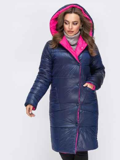 Двухсторонняя куртка с объемным капюшоном синяя 43180, фото 1
