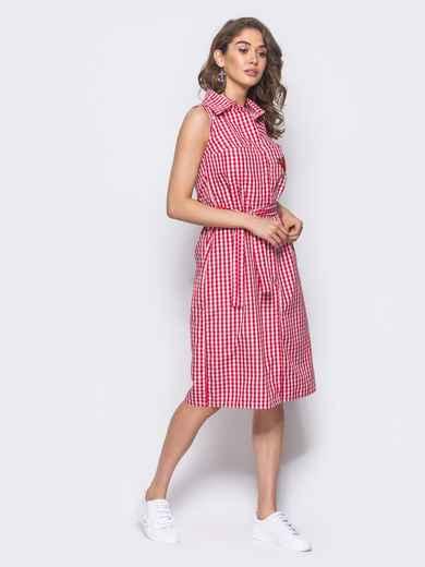 Красное платье-рубашка с нашивкой на кармане - 10797, фото 1 – интернет-магазин Dressa