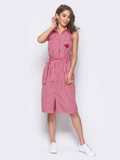 Красное платье-рубашка с нашивкой на кармане - 10797, фото 2 – интернет-магазин Dressa