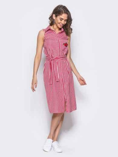 Красное платье-рубашка с нашивкой на кармане - 10797, фото 3 – интернет-магазин Dressa