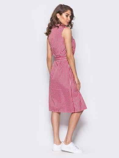 Красное платье-рубашка с нашивкой на кармане - 10797, фото 4 – интернет-магазин Dressa