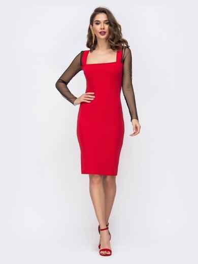 Платье-футляр с квадратным вырезом и рукавами из сетки красное 43072, фото 1