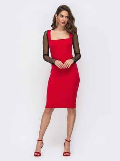 Платье-футляр с квадратным вырезом и рукавами из сетки красное 43072, фото 2