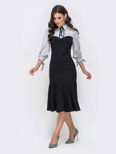 Платье-годе с контрастной кокеткой серое 41453, фото 1