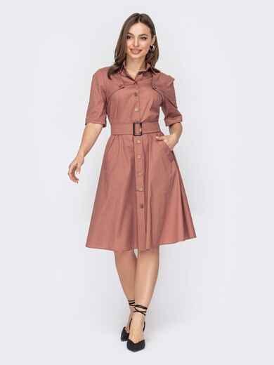 Платье-рубашка на пуговицах пудрового цвета 53437, фото 1