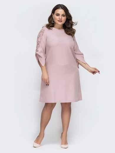 пудровое платье батал с гипюровыми вставками на рукавах 45211, фото 1