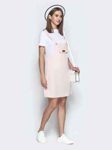 Пудровый сарафан-мини с накладным карманом - 39407, фото 2 – интернет-магазин Dressa
