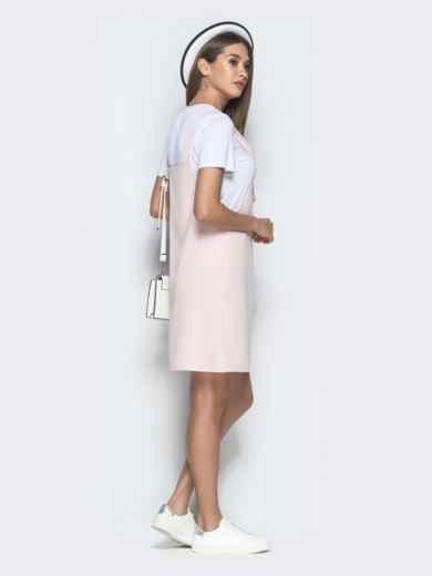 Пудровый сарафан-мини с накладным карманом - 39407, фото 3 – интернет-магазин Dressa